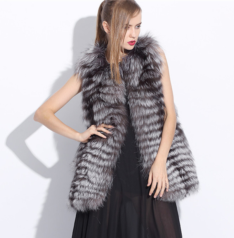 2015 Fashion Genuine Silver Fox Fur Vest Coats Women's Real Natural Waistcoats Winter Jacket BF-V0024 - Top World Co.,Ltd store