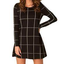 Jimshop 2016 Autumn Women Long Sleeve Tartan Check Print Flared Swing Dress Free Shipping