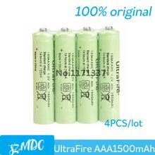 Hot Sale 4Pcs/lot  UltraFire AAA 1.2V 1500mAh Ni-MH Rechargeable Batteries Free shipping