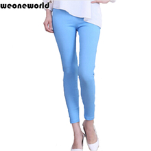 WEONEWORLD 2016 Sexy Women Pants Flat Solid Stretch Pencil Tights Skinny Pants Full Length Women Casual Trousers FreeShip(China (Mainland))