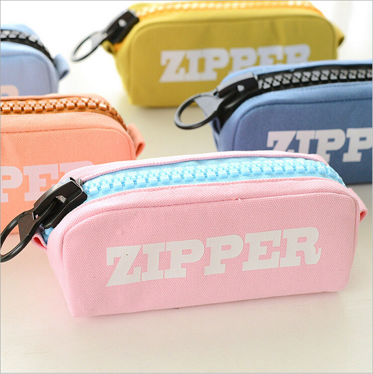 New Arrival Cute School Canvas Pencil Case Large Plastic Zipper Pencil Bag Stationery For School Students Large Capacity(China (Mainland))