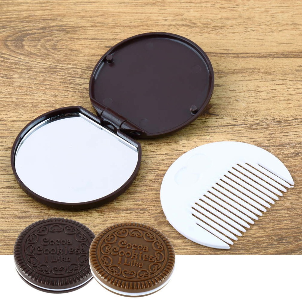 1PC Portable Cute Chocolate Cookie Shape Cosmetic Makeup Mirror + Comb Lady Girl Lovely cookies design with comb Top Quality(China (Mainland))