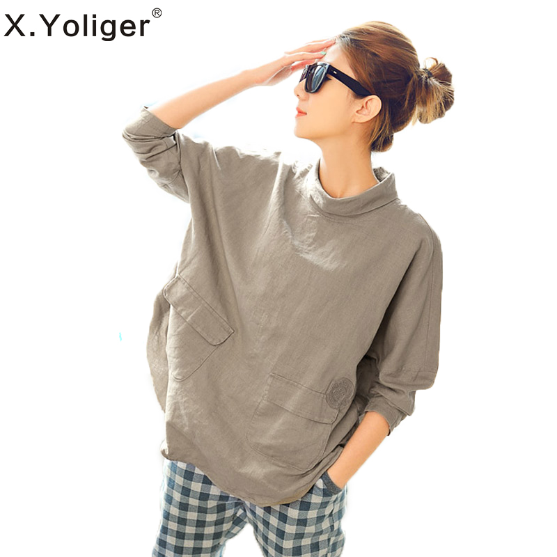 2015 New Spring Long Sleeve Casual Blouse Turtleneck Cotton and Ramie Women Shirt 143013 от Aliexpress INT