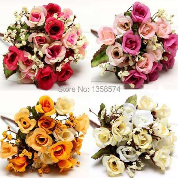 1 Bouquet 15 Heads Artificial Rose Silk Flowers Leaf Party Wedding Decoration yITRk(China (Mainland))