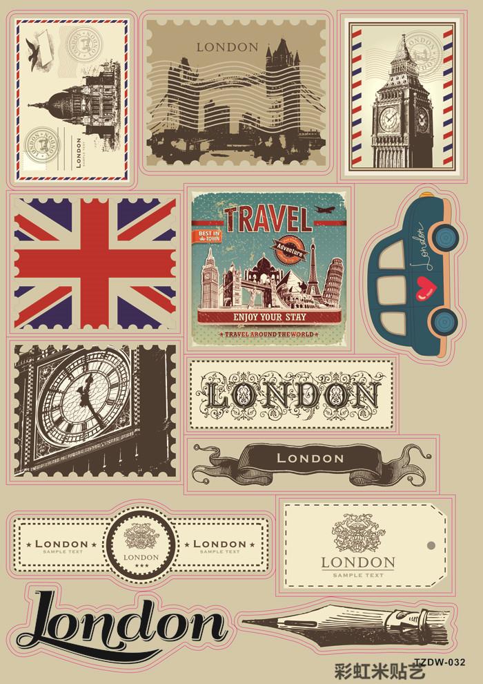 Retro stamps L nostalgic suitcase stickers laptop bags stick paster graffiti refrigerator PVC membrane(China (Mainland))