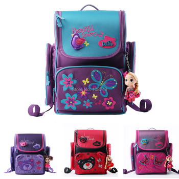 Delune дизайн детей школьного рюкзака мультфильм бабочка и медведь вышивка студенты ...