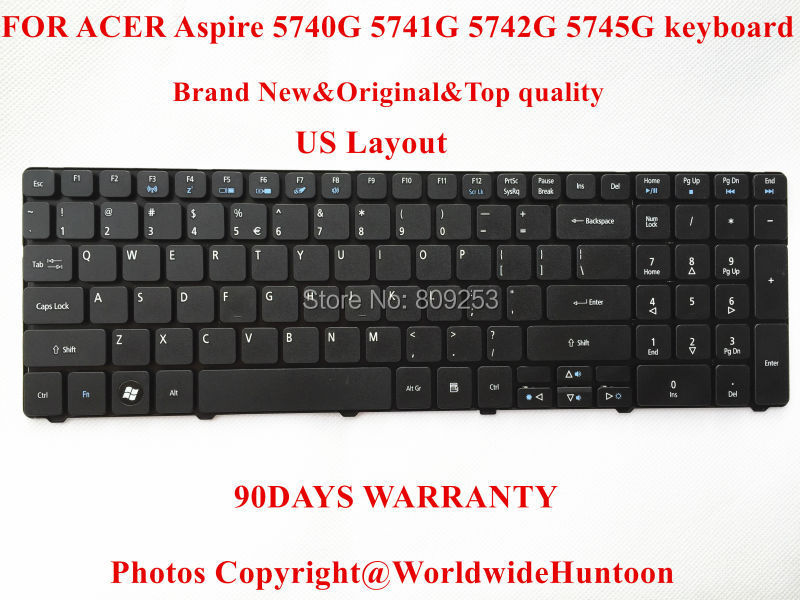Brand New Original laptop keyboard for ACER Aspire 5740G 5741G 5742G 5745G Keyboard US Layout 90Days Warranty(China (Mainland))
