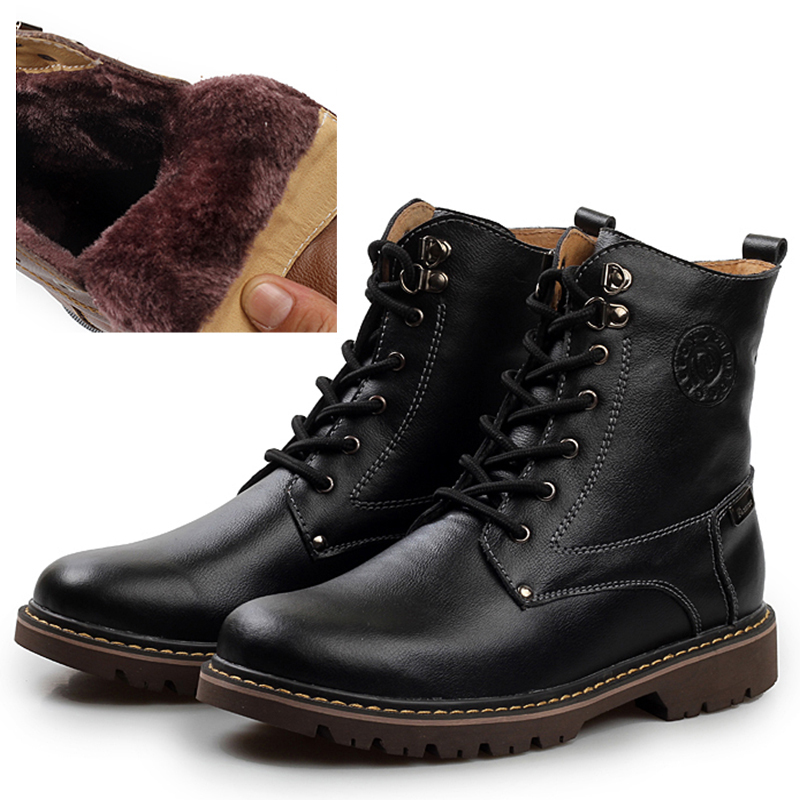 Free Shipping New Winter Men Boots Brown Ankle Boots Work Office Martin Boots Genuine Leather ...