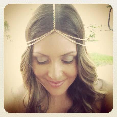 2015 New Fashion plated Gold Head Chain Pieces Women Boho Headpiece Headband Metal Chain Hair Head Wrap Jewelry Wholesale(China (Mainland))