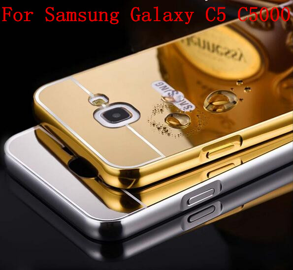 C5 Luxury Gold Plating Armor Aluminum Frame + Mirror Acrylic Case For Samsung Galaxy C5 C500 C5000 Phone Back Cover(China (Mainland))