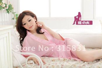 Women's sexy lingerie pink large code sexy lovely transparent bud silk uniform suit from the freight