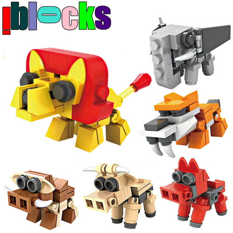 6packs/set 6-in-1 Animals Dinosaurs Robots Building Block Children Brick LEGOs Compatible Model Toy For Education(China (Mainland))
