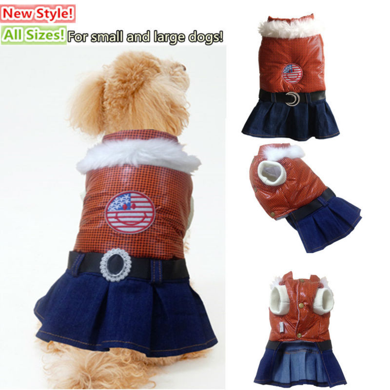 New luxury winter pet jacket dog coats clothes all sizes clothing for small and big dogs plaid denim skirt with artificial fur(China (Mainland))