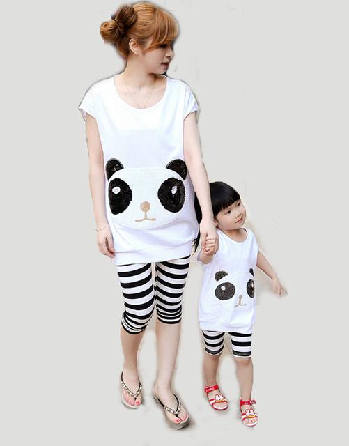 2016, Лето, Новый Родитель-Ребенок Соответствующие Наряды Мать Дочь Panda Блестками ...