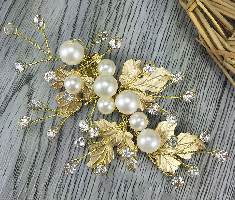 Luxurious Gold Leaves Hairclip Pearl Crystal Hairgrips Forehead Girl Fascinator Bride Headpiece Wedding Accessories(China (Mainland))