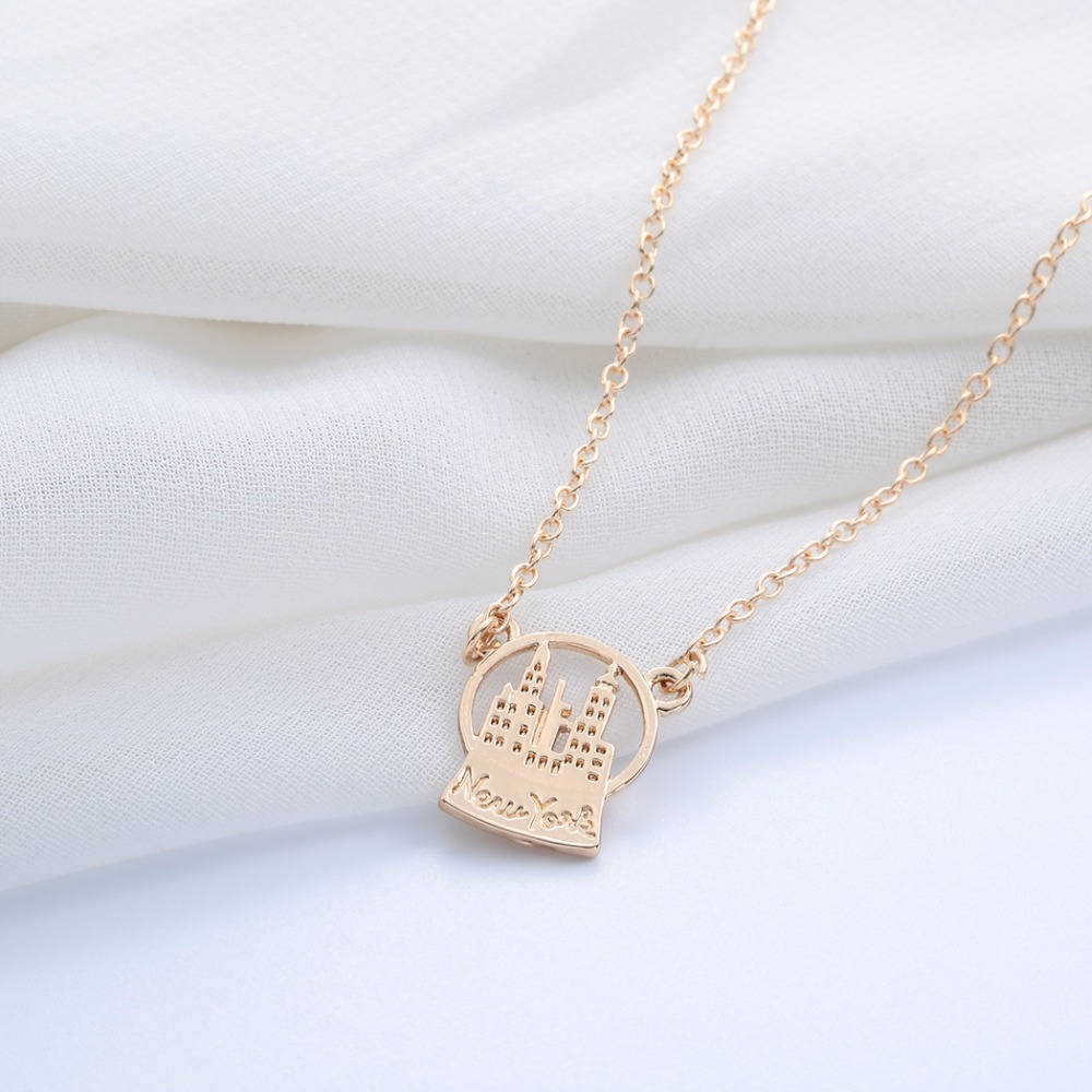 Newest Stainless Steel Fine Jewelry Gold Silver Personality Snow Globe New York Necklaces Pendants NY Necklace(China (Mainland))
