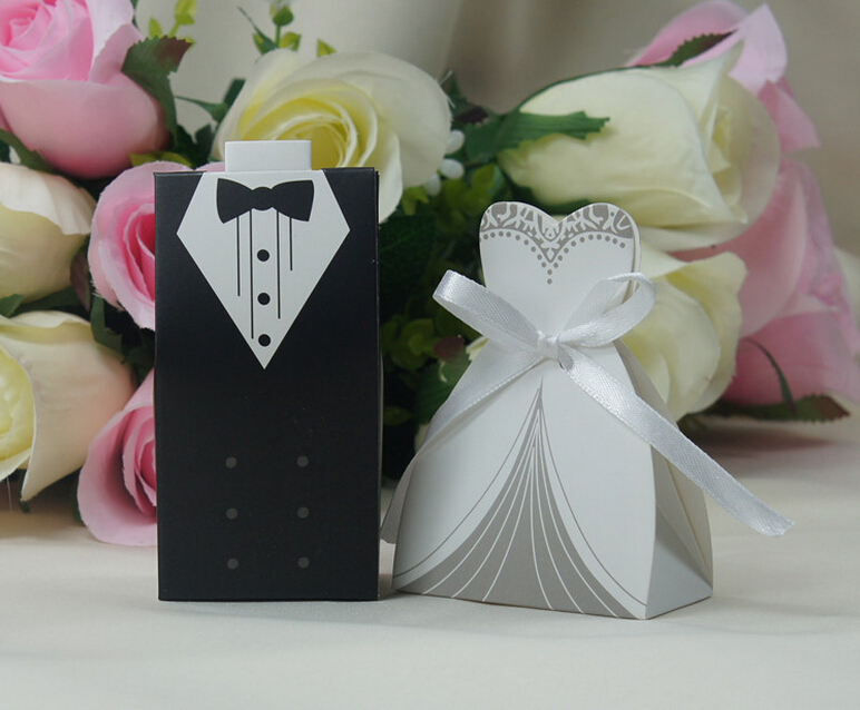 1506- 200 Pcs 100 Pairs Wedding Decoration Craft Tuxedo and Bridal Gift Boxes -Wholesale(China (Mainland))