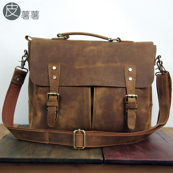Leather vintage genuine leather cowhide multifunctional laptop bag preppy style 14 notebook messenger bag crazy horse leather
