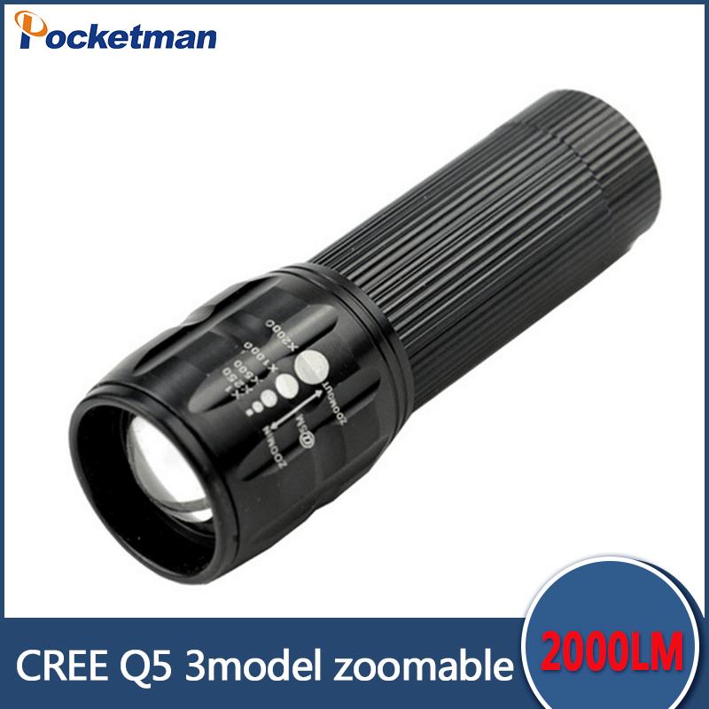 Promotion 90% off flashlight Lanterna Cree Q5 led Torch 2000 lumen Zoomable Black Mini LED Flashlight lantern bike light(China (Mainland))
