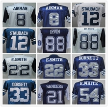 SexeMara TROY AIKMAN Roger Staubach Emmitt Smith DEION SANDERS Tony Dorsett Michael Irvin Men's Throwback Jersey Size 48-56(China (Mainland))