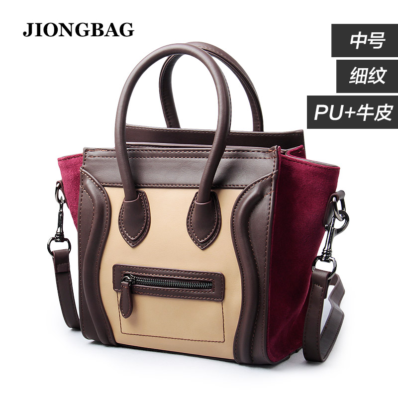 Long Bay 2016 new medium vintage wine red color color matte leather handbag bag bag embarrassed smile(China (Mainland))