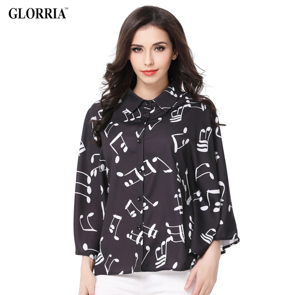 Glorria Women Elegant Note Print Loose Three Quarter Batwing Sleeve Blouses Summer Casual Fashion Wear to Work Black Shirts(China (Mainland))