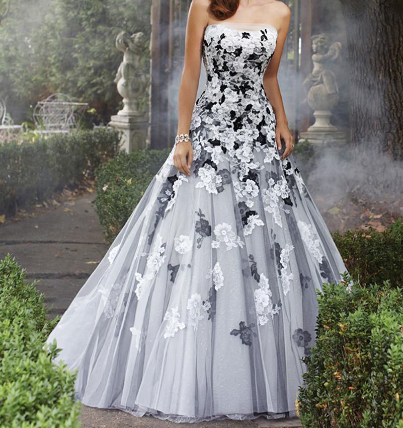 2016 white and black gothic wedding dresses strapless for Unique black and white wedding dresses