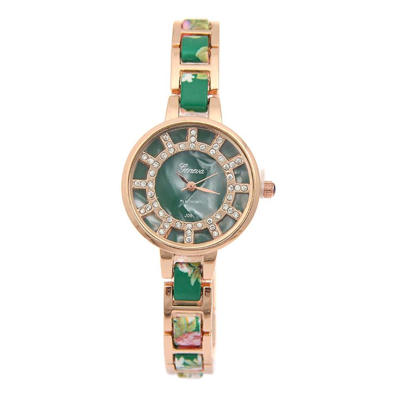 Фотография High praise Sloggi brand Shell dial digital Watch women,floral strap Rhinestone Quartz Watch Contracted fashion bracelet watch