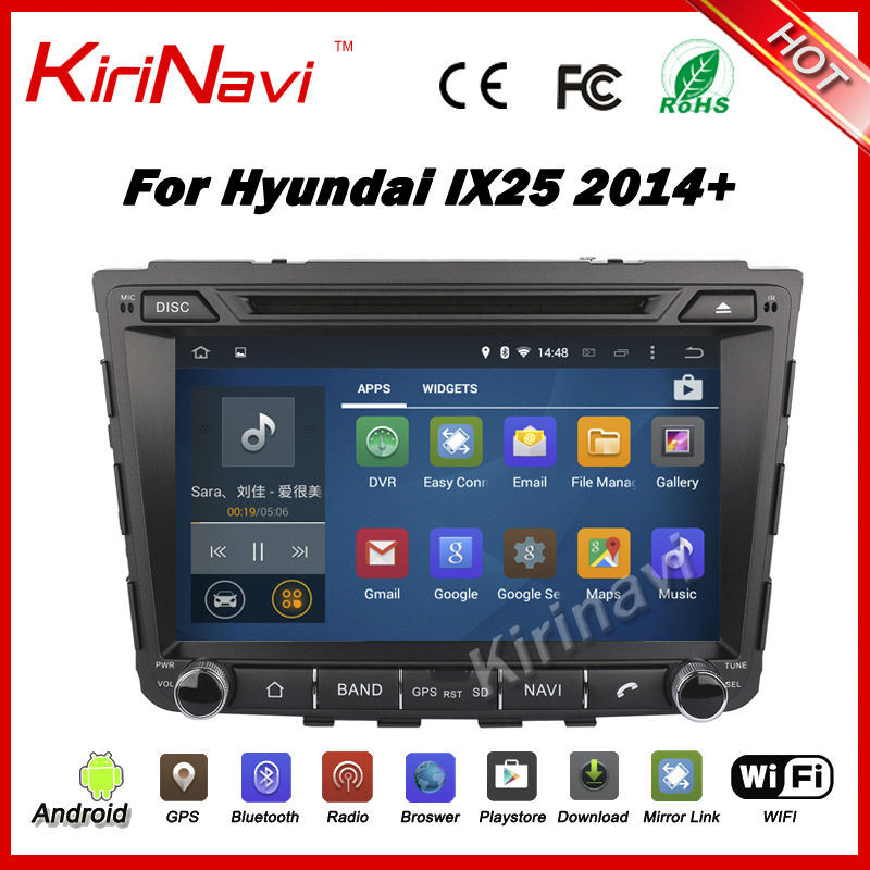 KiriNavi Android 5.1.1 Car Radio GPS Stereo for Hyundai ix25 creta 2014 2015 navigation multimedia OBD WIFI 3G Playstore(China (Mainland))