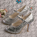 Wedopus MW760 Custom Handmade Mary Janes Silver Glitter Shoes for Prom Party High Heels Peep toe