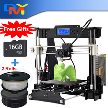 Newest 2016 Upgraded Quality High Precision Reprap Prusa i3 DIY 3d Printer kit with 2 kg filament 8GB SD card and LCD for Free