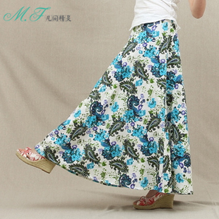 Fairy m.f bohemia national trend bust skirt linen skirt fluid expansion skirt bottom long fresh(China (Mainland))