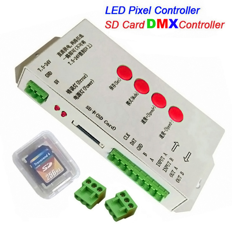New T-1000S SD Card LED Controller Pixel Led Control Pixel Controller Support DMX512 ws2811 RGB DMX Controller(China (Mainland))