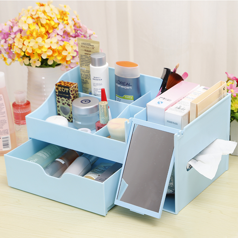 Honey Flowers large plastic cosmetic mirror cassette storage drawer storage box storage box Creative Desktop(China (Mainland))