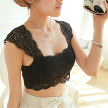 Sexy Women Black White Lace Floral Padded Bralette Bralet Bra Bustier Crop Tank Tops Free Shipping