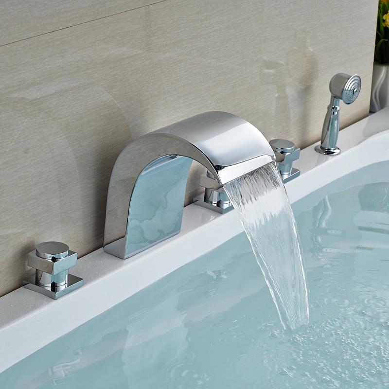 Здесь можно купить  Polished Chrome Waterfall Bathroom Tub Faucet Set Deck Mount Brass Handshower Bathtub Mixer Taps   Дом и Сад
