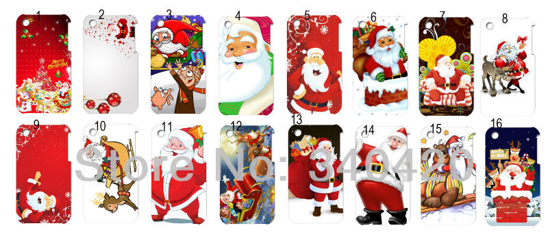 2013 Hot New style 16pcs/lots wholesale Christmas Santa Claus hard white case cover for iphone 3G 3GS + free shipping(China (Mainland))