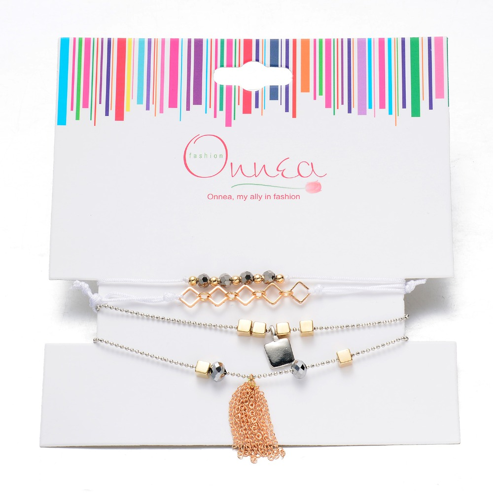 4 Pcs/ Pack Metal Bead Tassel Charms Multiple Rope Bracelet Set for Women and Girls By Onnea(China (Mainland))