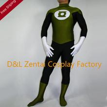 Free Shipping DHL Adult Army Green & Black Green Lantern Superhero Costume Halloween Party Cosplay Lycra Zentai Suit SH1807