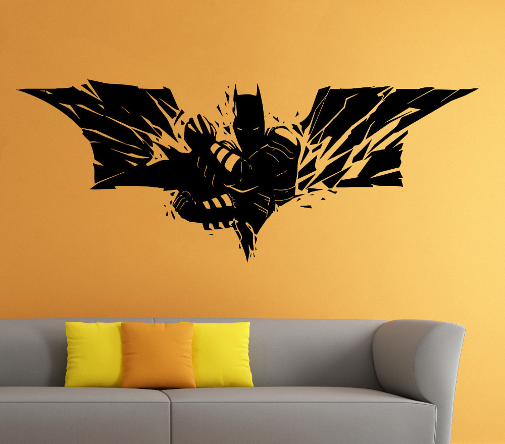 Batman wall vinyl decal the dark knight sticker superhero for Dark wall decor ideas