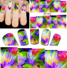 1sheets Hot Sales Women Beauty Stickers Water Transfer Wraps Foils Polish Decals Temporary Tattoos Nail Art Decorations XF1412