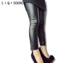 L Q SOONG 2016 high Quality Girls Leggings black Clothing Baby Kids Imitation Leather thin Pants Trousers For Toddler Child(China (Mainland))