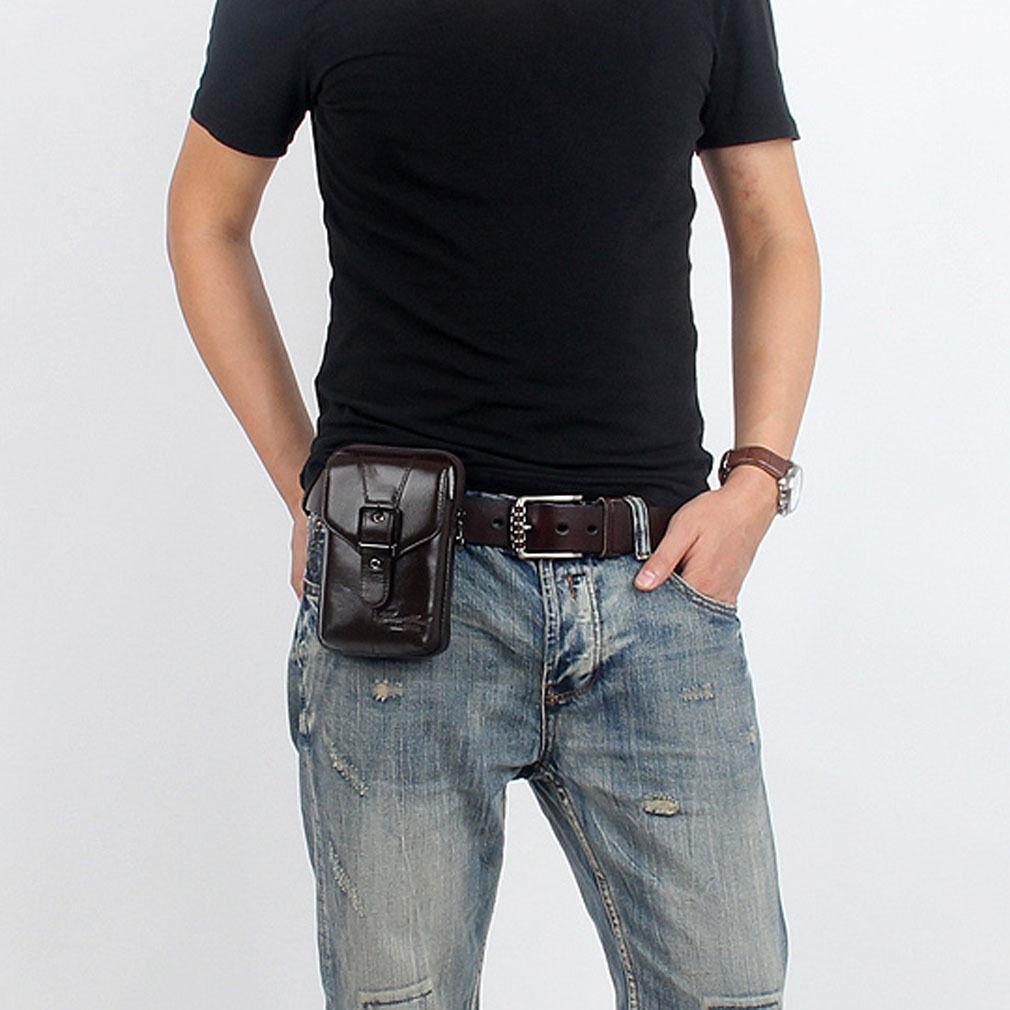 Men Cowhide Genuine Leather Fanny Waist Bag Brand Famous Belt Hip Bum Cell/Mobile Phone Cigarette Case Coin Purse Pack Pouch