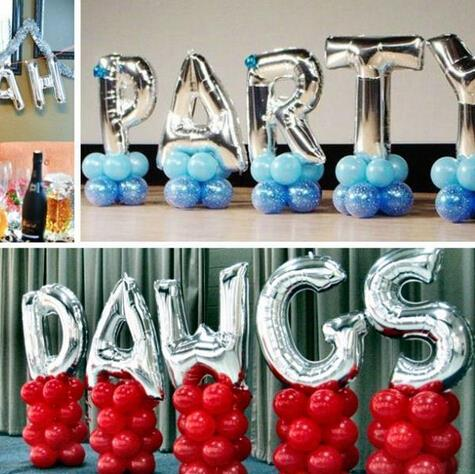 1pcs 16'' Cute Silvet letter balloons Happy Birthday aluminum foil balloon classic toys helium foil balloon globos ballon ball(China (Mainland))