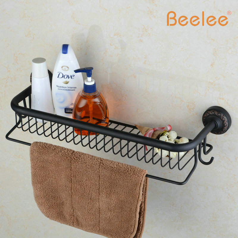 Beelee BL6733B Oil Rubbed Bronze Storage Holder Wall Mount Bath Shelf With Towel Bar Dual Tiers Bathroom Accessories(China (Mainland))