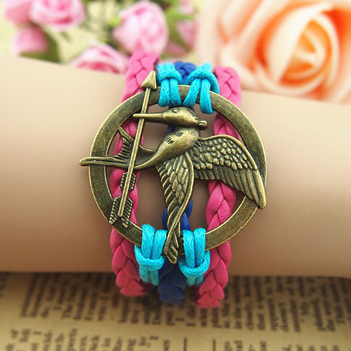 Hunger Games sword bird bracelet love bird sword hand-knitted multi-layer leather cords strap bracelets free shipping HG010