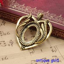 Fit 18x25mm Herz Flügel Antike Silber/bronze/Antique gold Cameo/Cabochon Rahmen Lünette, anhänger Tray blank 5 teile/los (K05253)(China)