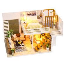 Casa de DIY para muñecas CUTEBEE, casas de muñecas de madera en miniatura, Kit de muebles de casa de muñecas con juguetes con luz LED para niños, regalo de Navidad L023(China)