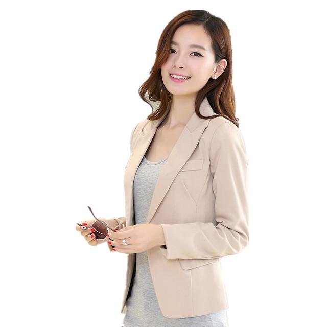 Новинка женщин блейзер полный зубчатый пиджак черный хаки тонкий пальто свободного ...