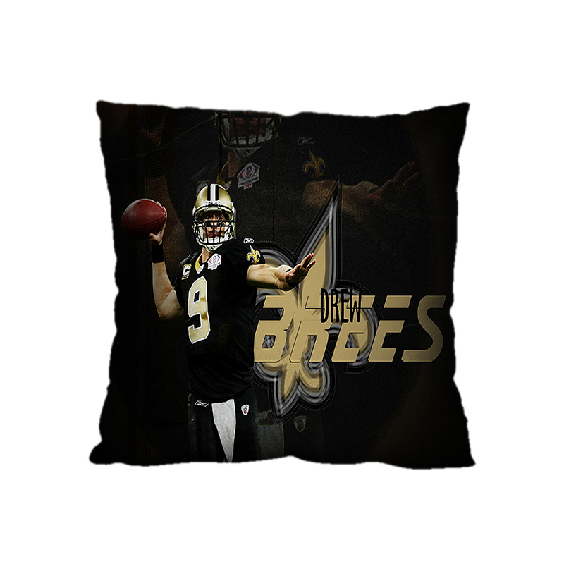 Drew Brees New Orleans Saints NFL Pattern 18*18 Square Polyester Zippered Decorative Pillow Case Cover(Twin Sides)(China (Mainland))